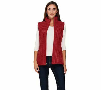 Susan Graver Trendy Zip Textured Popcorn Quilted Vest Pockets Red XL NEW A268575