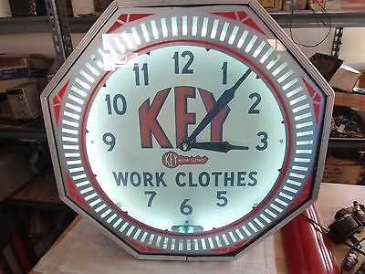 """1940's Key Work Clothes NEON Display Clock Sign  """" Vintage OLD """" ! ! !"""