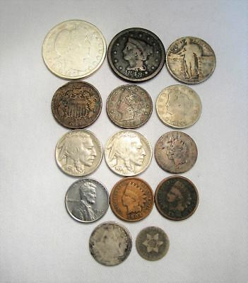 Vintage US Coin Lot 14pc Large Indian steel Liberty Silver Barber Standing C669