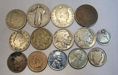 Vintage US Coin Lot 88 14pc Indian Steel Liberty Silver Seated Barber Standing