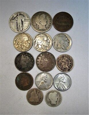 Vintage US Coin Lot 14pc Indian Steel Liberty Buffalo Silver Barber Stand C681
