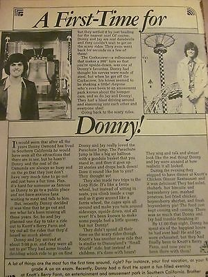 Donny Osmond, Starsky and Hutch, The Osmonds, Double Full Page Vintage Clipping