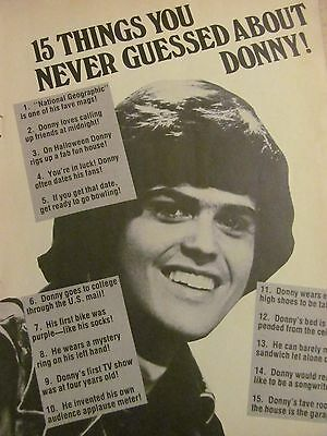 Donny Osmond, The Osmonds, Marie Osmond, Double Full Page Vintage Clipping