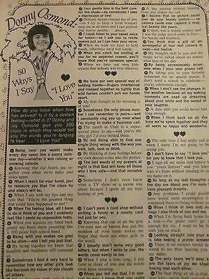 Donny Osmond, The Osmonds, Full Page Vintage Clipping