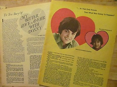 Donny Osmond, The Osmonds, Two Page Vintage Clipping
