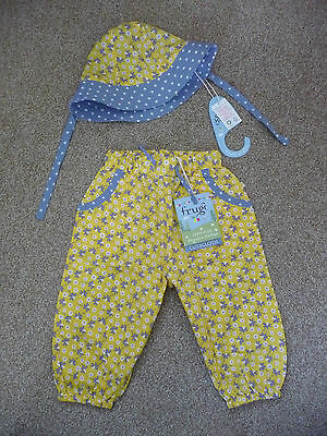 Frugi New Daffodil Ditsy Trousers & Hat 12-18 Months £34 Baby Girl John Lewis