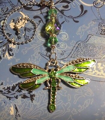 Dragonfly Green Crystal~Ceiling Fan Pull~Hook on Chain/Lamps/Auto**~Silver