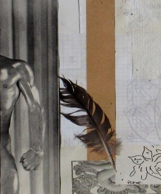 LAUNA D. ROMOFF, #247 Collage/Mixed media, Side of Hunky Man, feather-Gay Appeal
