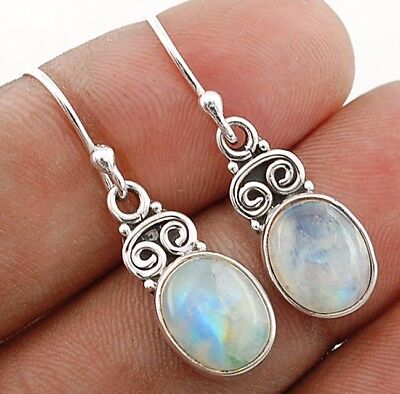 """3CT Rainbow Moonstone 925 Solid Sterling Silver Earrings Jewelry 1 1/4"""" Long"""