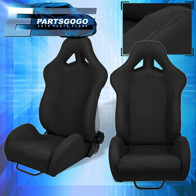 For Lotus Benz Full Reclinable Black Cloth Racing Bucket Seat + Slide Mounts Kit