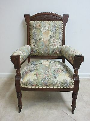 Antique Victorian East Lake Tapestry Fireside Lounge Arm Living Room Arm Chair