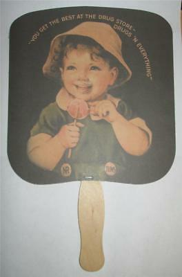 Hand Held Advertising Fan Bear Drug Company Denison Texas Tums