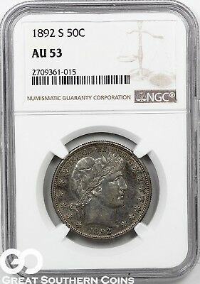 1892-S NGC Barber Half Dollar NGC AU 53 ** Better Date, Free Shipping!