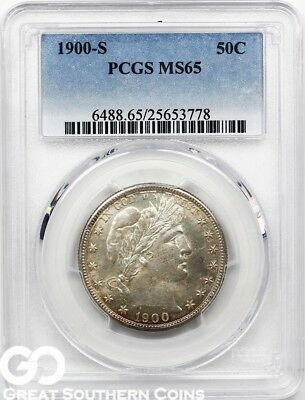1900-S PCGS Barber Half Dollar PCGS MS 65 ** Better Date, Scarce This Nice!