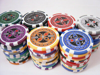 500 14g CLAY POKER ACES CASINO POKER CHIPS W/CASE, 55