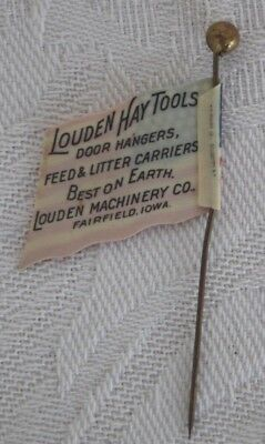 Vintage Celluloid Louden Hay Tools Farm Advertising Us Flag Stickpin Iowa