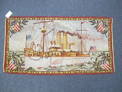 Very Rare C1900 Museum Quality Hand-Made American Rug Featuring A Steam Boat