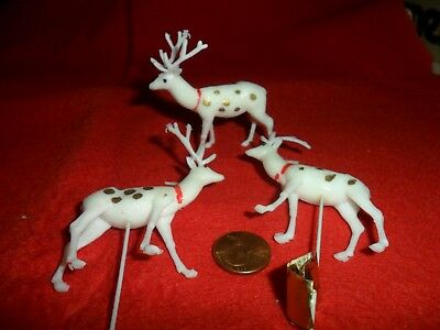 Vintage White Small Plastic Reindeer with Gold Spots