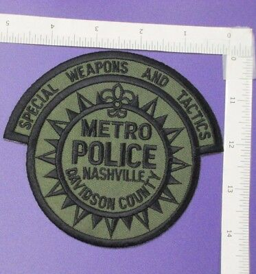 Nashville Tennessee Metro Police Swat Team Department Shoulder Patch Subdued