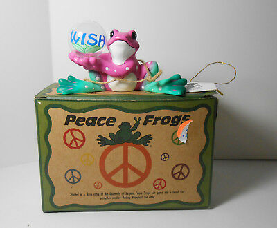 Westland Hippie Peace Frog Resin Pink green holding Wish Ball VHTF MIB w Tags