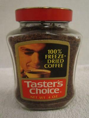 FULL NOS 1970's VINTAGE TASTER'S CHOICE INSTANT COFFE 4 OZ. GLASS JAR METAL LID