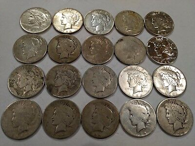 ROLL of 20 PEACE silver dollars, lower grade with problems (Lot23)