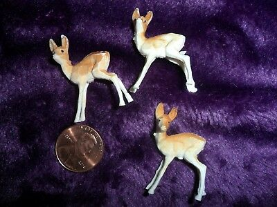 Vintage Plastic Minature Standing Fawns