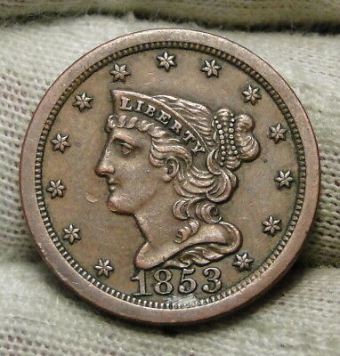1853 Braided Hair Half Cent - Nice Coin, Free Shipping (6598)