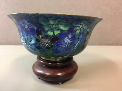 Vntg CHINESE Brass Cloisonne Enamel Bowl Blue Ground with Flowers & Stand