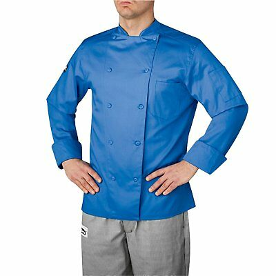 New Chefwear Men Organic Cotton Traditional Chef Coat Blue