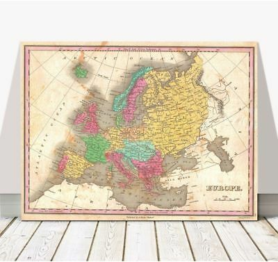 """Vintage Finley Map of EUROPE 1827 Poster CANVAS PRINT 32x24"""""""