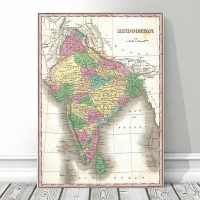 """Vintage Finley Map of INDIA 1827 Poster CANVAS PRINT 18x12"""" - Hindoostan"""