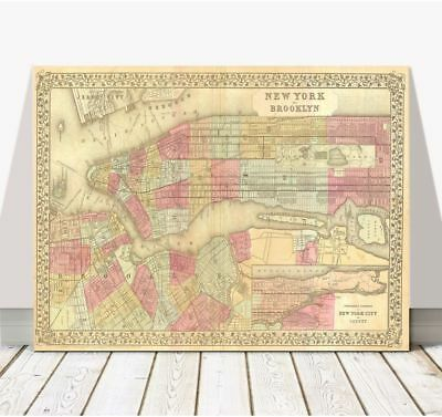 Vintage Mitchell Street Map of NEW YORK CITY1882 Poster CANVAS PRINT 12x8""