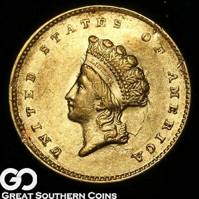 1855 Gold Dollar, $1 Gold Indian Princess, Type 2, Better Date, * Free Shipping!