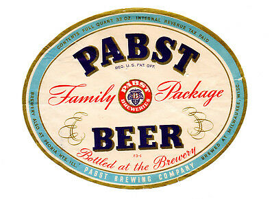 1930s PABST BREWING CO, MILWAUKEE, WISCONSIN FAMILY PACKAGE BEER IRTP LABEL
