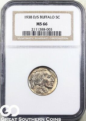1938-D/S NGC Buffalo Nickel NGC MS 66 ** Tough Coin, Gorgeous!