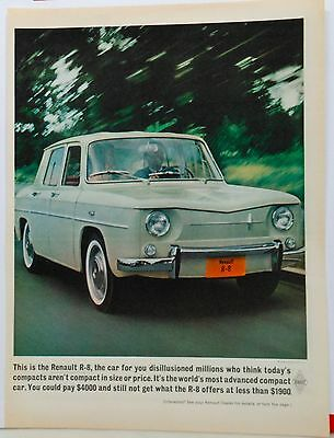1962 magazine ad for Renault - photo of Renault R-8, most advanced compact car