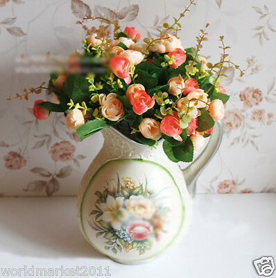 New European Pastoral Style Ceramic Vase With Champagne Two-color Roses