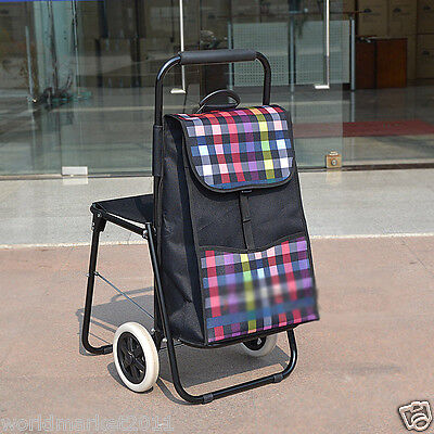 Lattice Black Chair Two Wheels Convenient Collapsible Shopping Luggage Trolleys