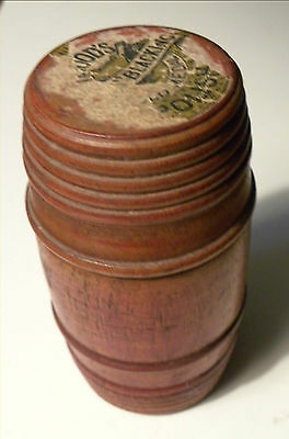 3805. Antique Late 19th c Treenware Turned Maple Barrel Form Box New England