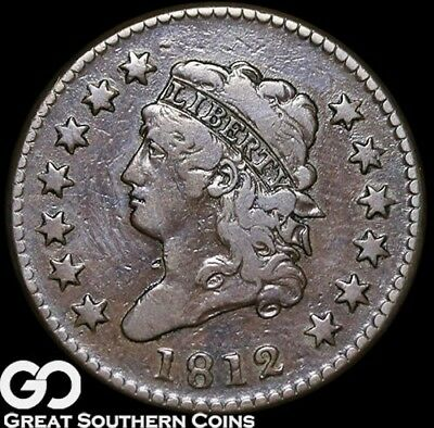1812 Large Cent, Classic Head, Very Scarce Choice VF++/XF Early Date Copper!
