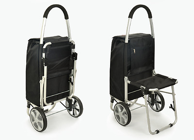 Convenient Black + Blue Chair Two Wheels Collapsible Shopping Luggage Trolleys !