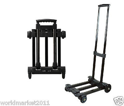 New Convenient Portable Black Four Wheels Collapsible Shopping Luggage Trolleys
