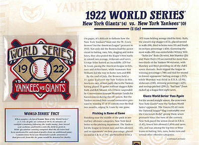 4586b83b1fb49 1922 WORLD SERIES PATCH CARD Willabee   Ward NEW YORK GIANTS vs NEW YORK  YANKEES