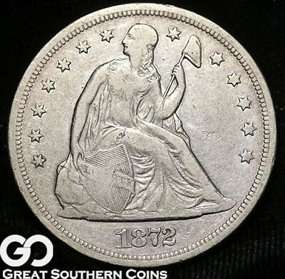 1872 Seated Liberty Dollar, Sought After Silver Dollar Series, ** Free Shipping!