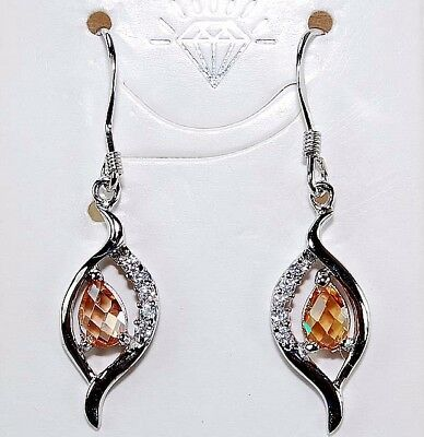 2CT Padparadscha Sapphire & Topaz 925 Solid Sterling Silver Earrings Jewelry