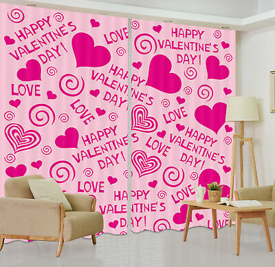 3D Pink Valentine's Heart Blockout Photo Printing Curtain Drapes Fabric Window