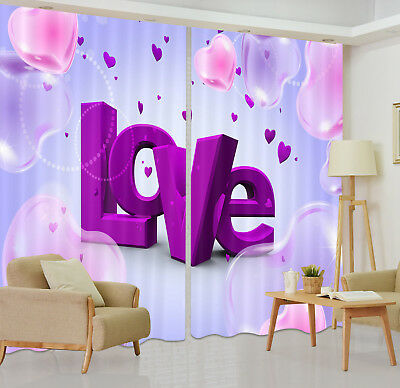 3D Eternal Valentine's Love Blockout Photo Printing Curtain Drapes Fabric Window