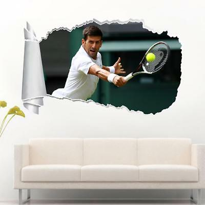 Novak Djokovic Tennis 3D Smashed Wall Sticker Decal Home Decor Art Mural J874