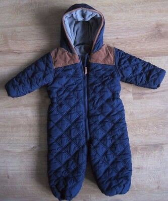 Boys NEXT Snowsuit Size 12-18 Months - Warm winter All in One Coat Navy Blue